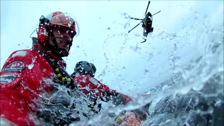 Helicopter rescue swimmer