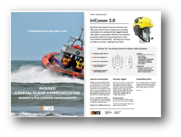 Brochure on iriComm 3.0. Cut out of a SAR vessel breaking waves.