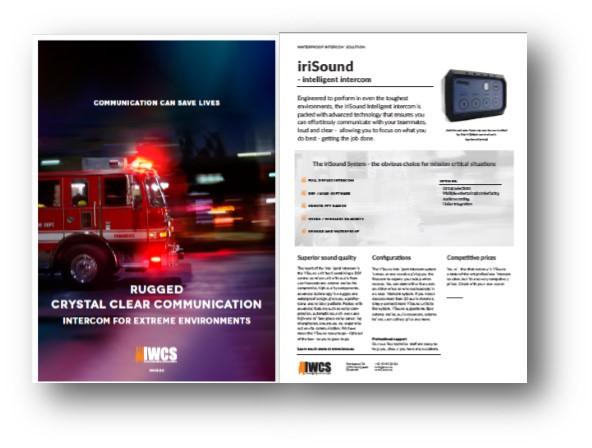 iriSound brochure, showing a firetruck sirens blaring.