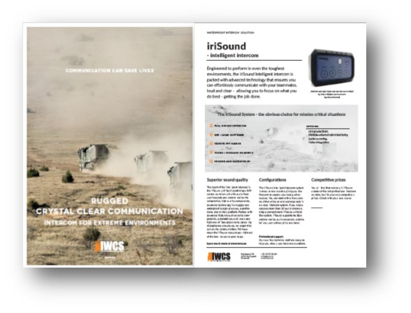 A brochure cut out about iriSound audio mixer. Showing a military transport.