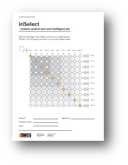 A configuration sheet for iriSelect
