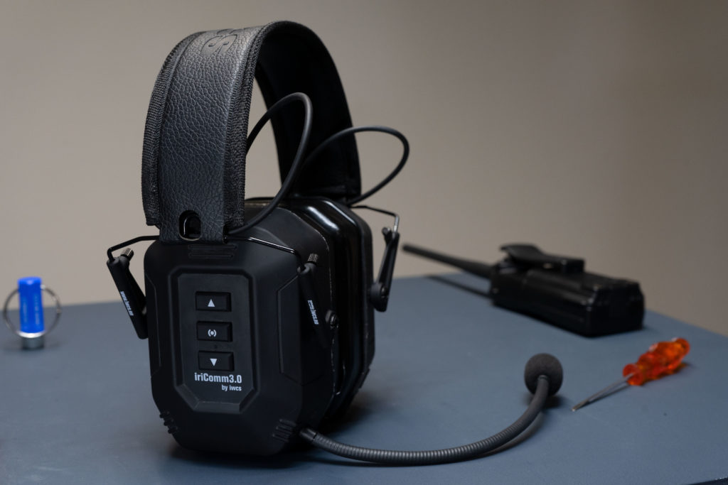 IWCS headset on a table with tools